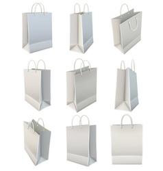 white blank paper shopping bag set vector image
