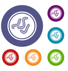 lot of bacteria icons set vector image