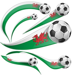 wales flag set with soccer ball vector image vector image
