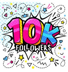 10000 followers in pop art style 10 vector