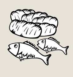 2 Fish and 5 Bread vector