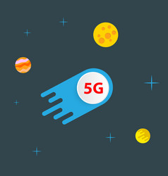5g meteorite flies in outer space among the vector
