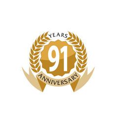 91 years ribbon anniversary vector