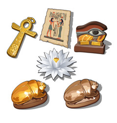 A set of sacred symbols and artifacts of ancient vector
