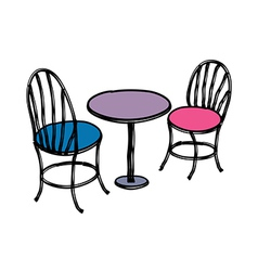 A table with chairs vector
