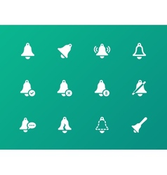 Alarm bell icons on green background vector