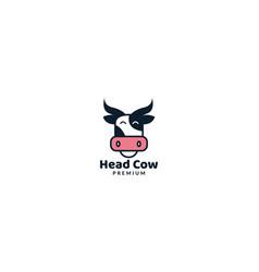 Animal cow head face smile cute cartoon unique vector