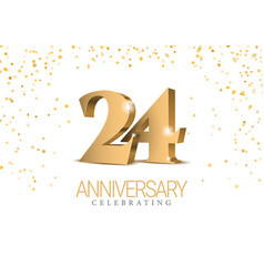 anniversary 24 gold 3d numbers vector image