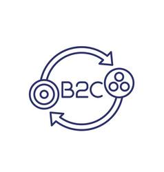 B2c icon on white line concept vector