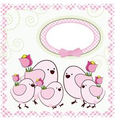 Background with cartoon birds vector