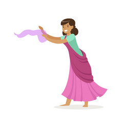 Beautiful indian woman in a purple sari dancing vector