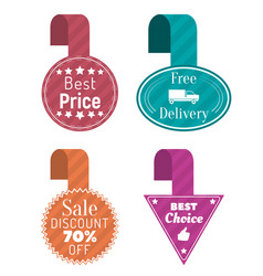 Best price and sale tags free delivery icons vector