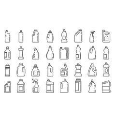 Bleach bottle icons set outline style vector