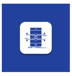 blue round button for api interface mobile phone vector image