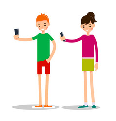 boy and girl with mobile phone man and woman do vector image