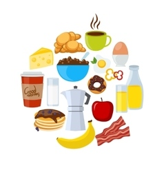Breakfast Icons Flat Set vector image
