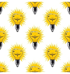 Bright cartoon light bulbs seamless pattern vector