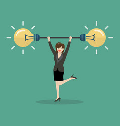 Business woman lifting exercise with barbell idea vector