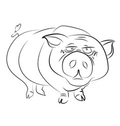 cartoon image of huge pig vector image