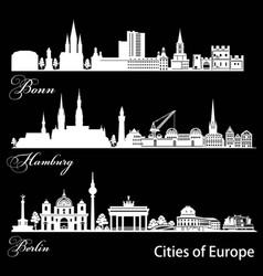 City in europe - bonn hamburg berlin detailed vector