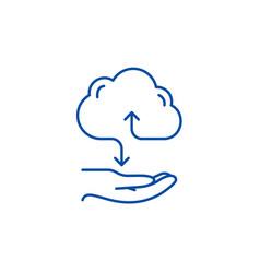 cloud services line icon concept cloud services vector image