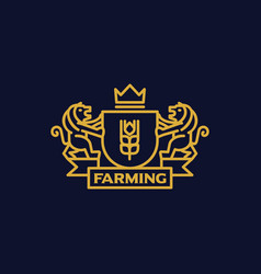 Coat of arms farming vector