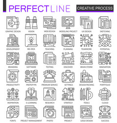 Creative process outline mini concept symbols vector