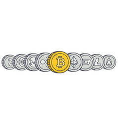 cryptocurrency coins in row vector image