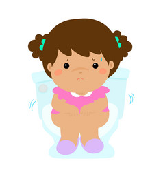Cute girl sitting toilet seat with diarrhea vector