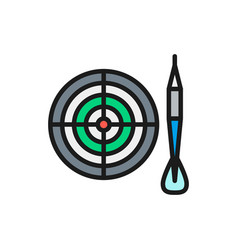 darts flat color line icon isolated on white vector image