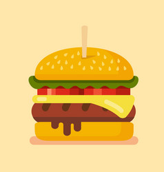 delicious hamburger flat vector image