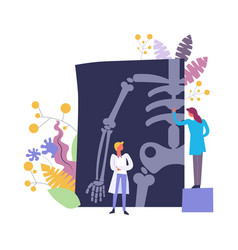 Doctors discussing and examining xray of patient vector