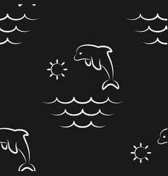 dolphin ocean sea sun pattern seamless vector image