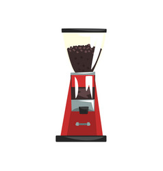 Electric red coffee grinder cartoon vector