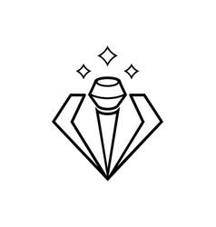 Elegant diamond microphone line vector
