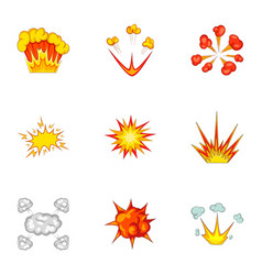 Explode animation effect icons set cartoon style vector