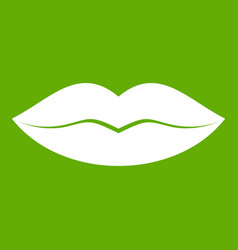 Female lips icon green vector