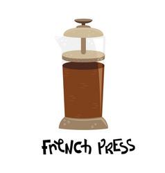 Flat french press alternative methods brewing vector