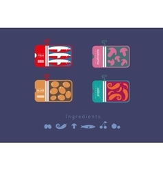 Flat icons preserved foods vector