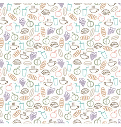 Food and drinks seamless pattern design - seamless vector