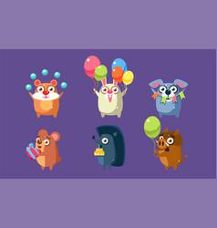 funny animal characters having fun at birthday vector image