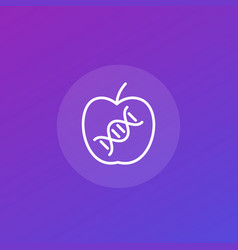 genetically modified apple icon line art vector image