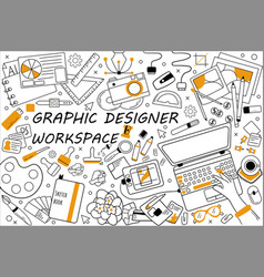 Graphic designer workspace doodle set vector