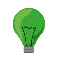 Green light bulb icon with filaments vector