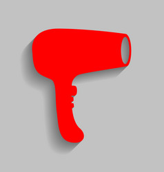 Hair dryer sign red icon with soft shadow vector