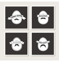 happy hipster easter - set stylish eggs cards vector image