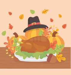 happy thanksgiving roasted turkey pumpkins hat vector image