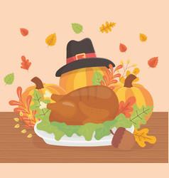 Happy thanksgiving roasted turkey pumpkins hat vector