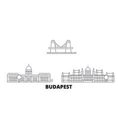 Hungary budapest line travel skyline set hungary vector