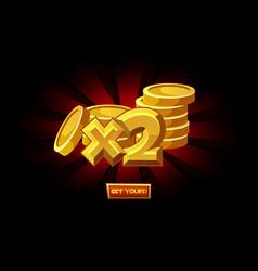 Icon gold coins doubling bonus vector